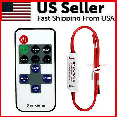 12V Mini Controller Inline Dimmer With RF Wireless Remote for LED Strip Light US