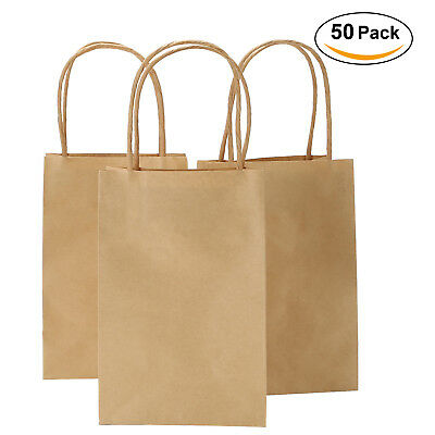Shopping Gift Bags Small Brown Blue Red Kraft Paper Bags with Handle - Brown Paper Bags With Handles