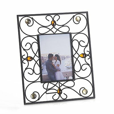 "Melannco 5"" x 7"" Picture Frame Metal Jeweled Photo Frame NEW"