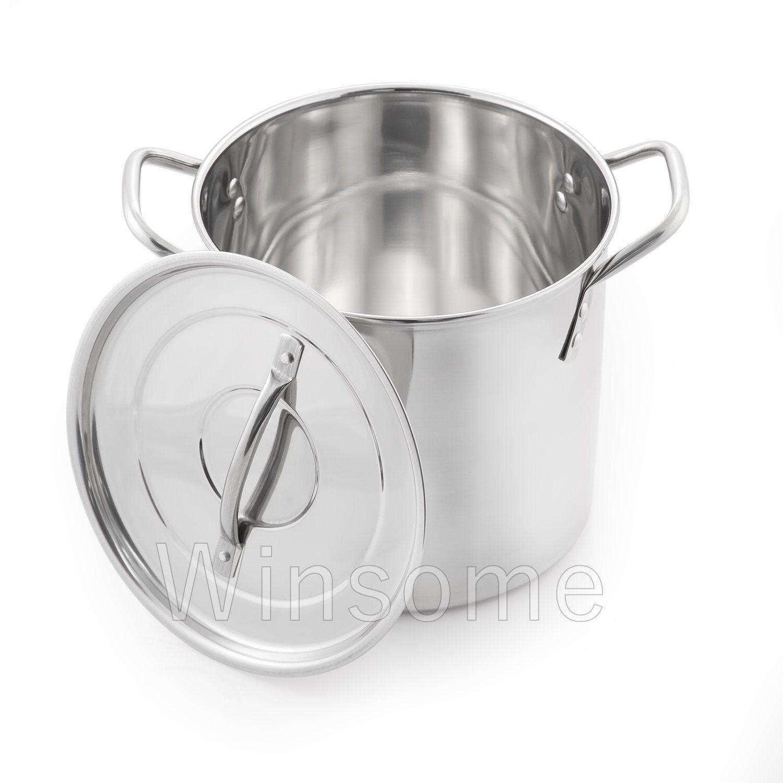 Deep Stainless Steel Stock Soup Pot Pan Saucepan Cooking Stew Catering Casserole