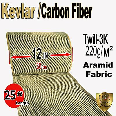 12 In X 25 Ft - Fabric Made With Kevlar-carbon Fiber Fabric- Twill -3k200gm2
