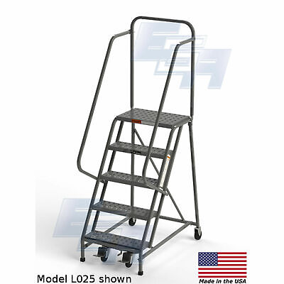 Ega L007 Steel Industrial Rolling Ladder 5-step 16 Wide Perforated Gray 450