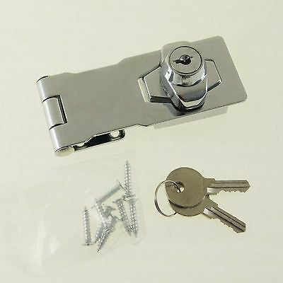 "Quality 4"" Door Saftey Lock Hinge Chrome with 2 Keys"