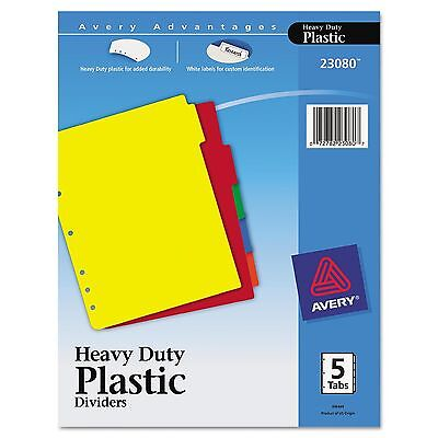 Avery PLASTIC 5Tab Notebook DIVIDERS multi color LABELS AVE23080 heavy duty set