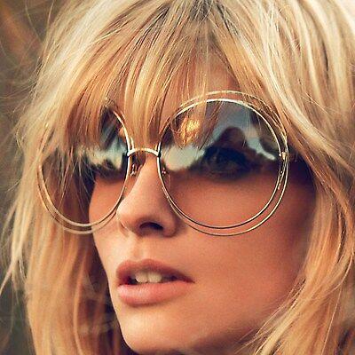 Big Round Oversized Double Wire Rim Sunglasses Metal Frame Retro XXL (Round Wire Frame Sunglasses)