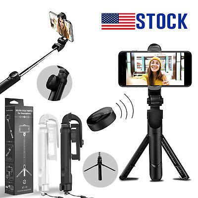 Extendable Selfie Stick Monopod Tripod With Bluetooth Remote for iPhone Samsung
