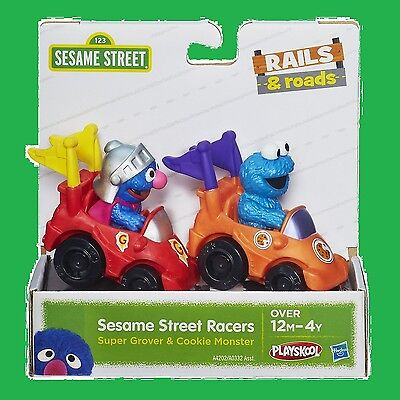 Super Grover & Cookie Monster Action Figure Toy Sesame Street Racers Vehicle  (Grover Toy)