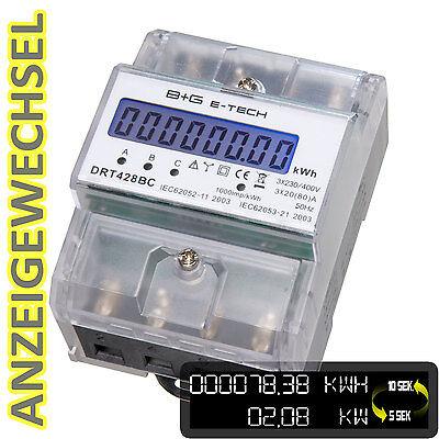 PORTOFREI  digitaler Stromzähler S0 Hutschiene 400V 3x20(80)A mit Anzeigewechsel
