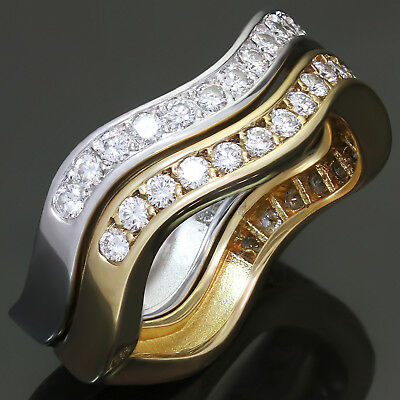 CARTIER Love Me Diamond 18k White & Yellow Gold Stackable Rings Pair Size 55
