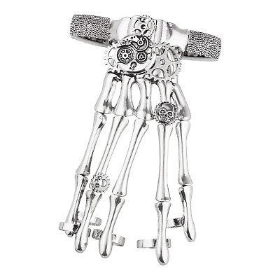 Lux Accessories Silver Tone Gothic Skull Tools Full Hand Skeleton Bracelet - Skeleton Hand Ring Bracelet