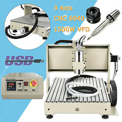 Cnc Router 3 Axis 6040 Engraving Mill Engraver Metal Wood Machine 1.5kw Vfd Usb