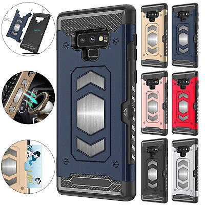 For Samsung Galaxy S8 S9 Plus Note 9 Magnetic Card Slot Hard Armor Case Cover