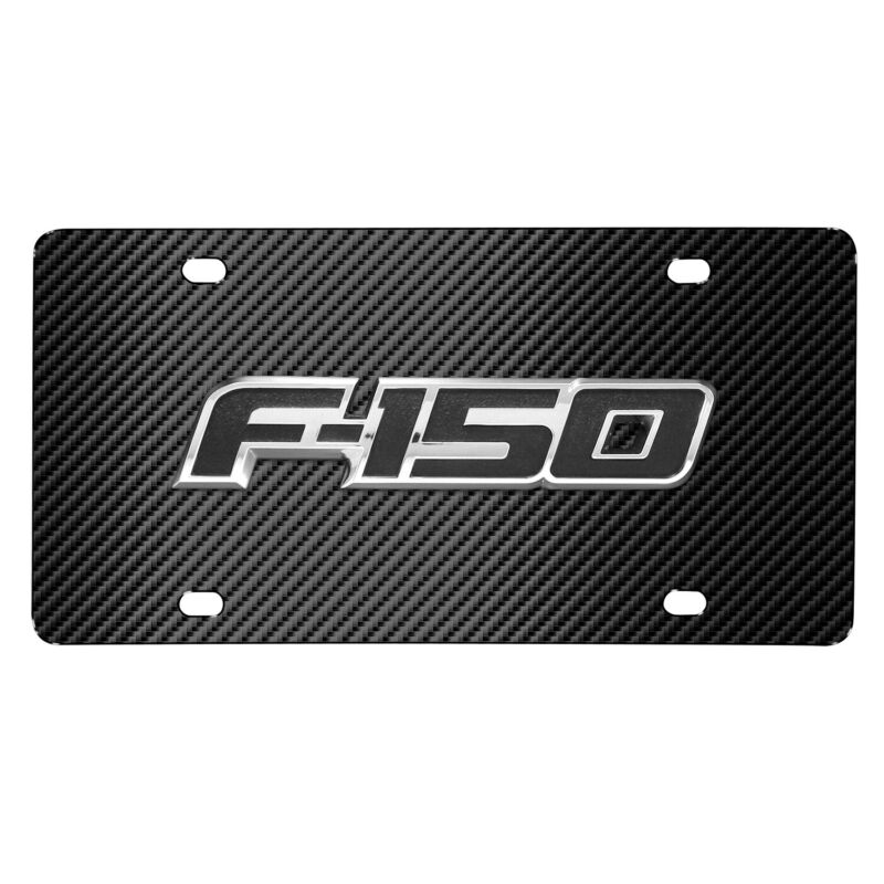 Ford F-150 3D Metal Logo Black Carbon Fiber Patten Stainless Steel License Plate