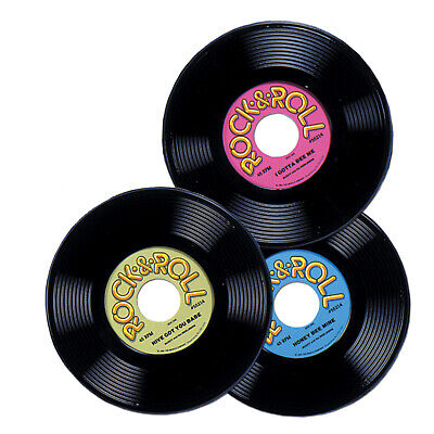 3 1950s 50s Sock Hop 45rpm Party Decoration Prop Plastic Rock & Roll RECORDS 9