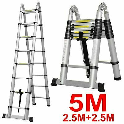 16.5 Ft Aluminum Folding Multi Purpose Telescopic Ladder Extension Steps 330lb