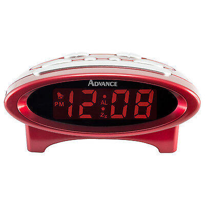 4229 Advance Time Technology Electric 0 7  Lcd Display Digital Alarm Clock   Red