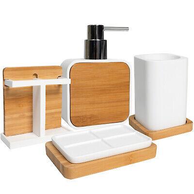 Ritz Poly Resin, Bamboo Bath Accessory Collection 4 Piece Bathroom Set ()