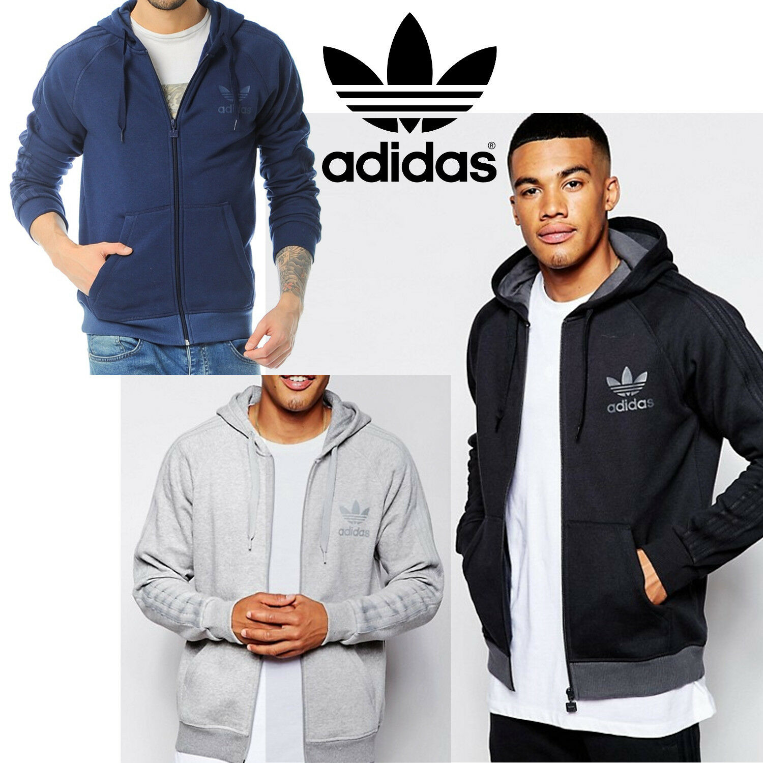 Mens Spo Full Originals Track Zip Hoodies Adidas Sweatshirt Trefoil IvZnq5pT