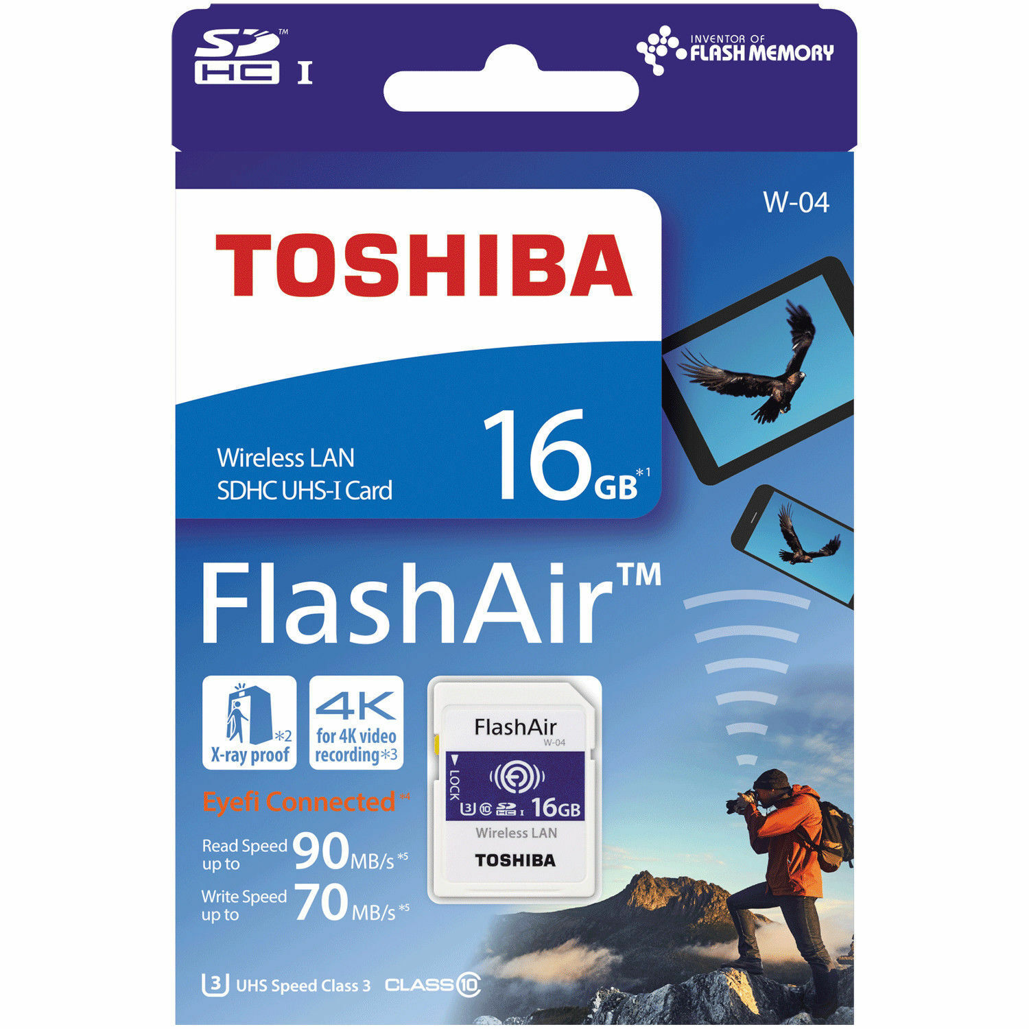 Toshiba 16GB Wi-Fi Wireless LAN FlashAir W-04 SDHC SD 90MB/s