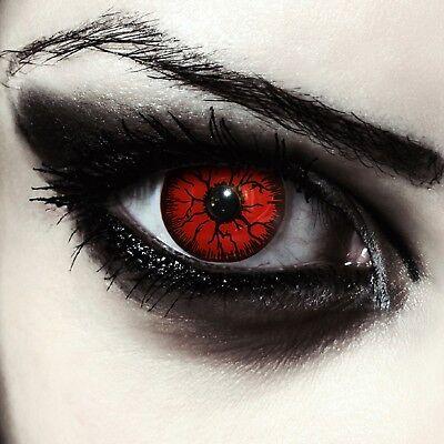 Rote farbige Halloween Kostüm Kontaktlinsen Vampir Twilight Make up Farblinsen ()