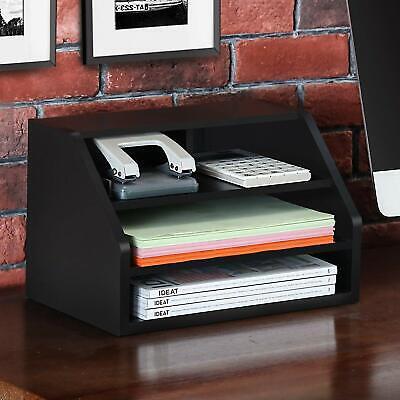 Fitueyes Wood Desktop Suppy Organizer 2-way Usage For Home Officeblack