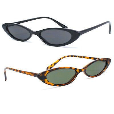 Retro Cat Eye Sunglasses Small Triangle UV400 Skinny Narrow Shades Sun (Triangle Shades Glasses)