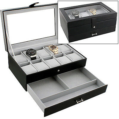 BLACK BONDED LEATHER 10 WATCH DISPLAY CASE STORAGE BOX WITH GLASS TOP BY MELE