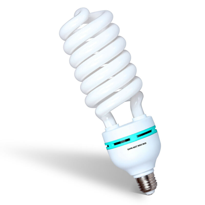 85W Full Spectrum Lighting Bulb 5500k CFL White Daylight Continuous Lighting