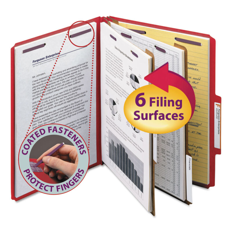 Smead Pressboard Classification Folders Letter Six-Section Bright Red 10/Box