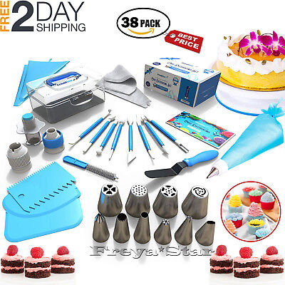 Cake Decorating Tools Set Kit 38 Tips Pastry Bags Nozzles Supplies Equipment