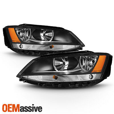 Fit Black 2011-2018 Volkswagen VW Jetta Sedan Headlights Lamps Replacement L+R