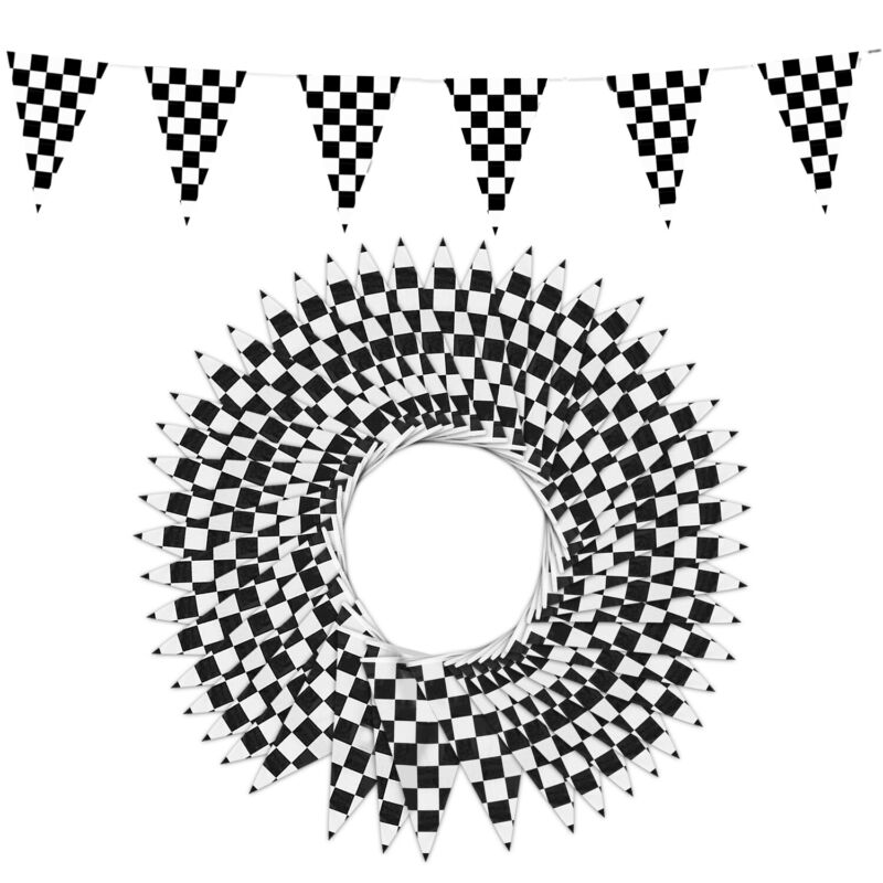 """Novelty Place 100 Feet Checkered Pennant Banner, 48 Pieces 12"""" x 18"""" Flags"""