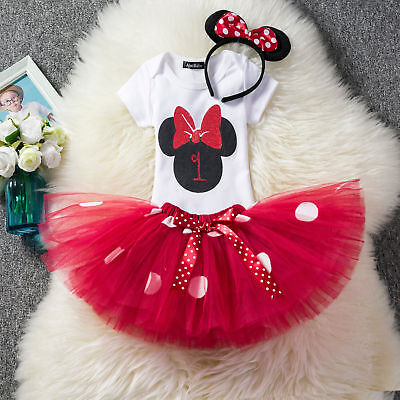 Baby 1st First Birthday Minnie Mouse Dress Romper Tutu Skirt Headband Outfit ZG8