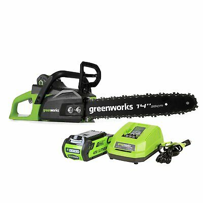 Greenworks 14-Inch 40V Cordless Chainsaw 2.0 AH Battery Included CS40L210
