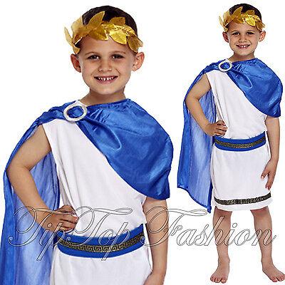 Junge Römisch Kaiser König Toga Caesar altertümlich Griechisch Kinder (Griechische König Kostüm)