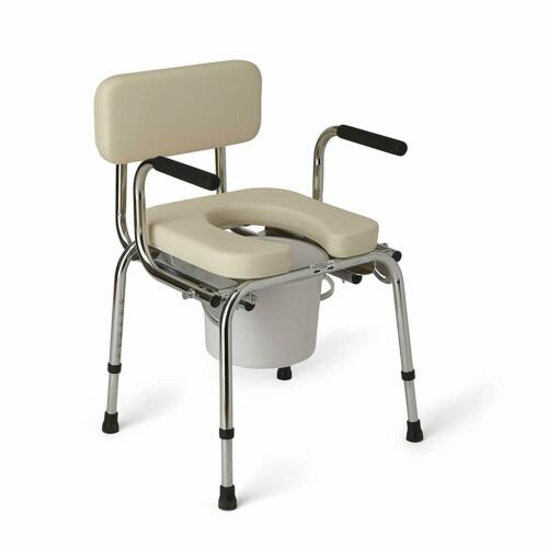 HEAVY DUTY PADDED BEDSIDE COMMODE SEAT CHAIR FOR DISABLED SE