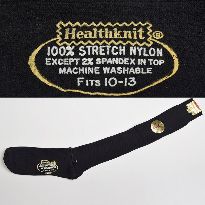 1960s Mens Deadstock Black Rib Knit Socks VTG Over the Calf Nylon Long Sock