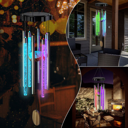 Color Changing Solar Wind Chimes LED Lights Large Deep Tone Resonant Bell Tubes Décor