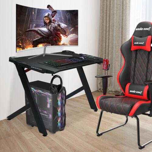 48 Inch Gaming Desk R-Shaped Computer Desk with LED Lights Ergonomic Gamer Desk