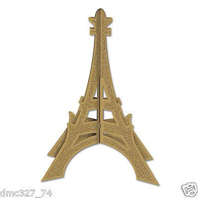 Perfectly Paris Party Decoration Glittered Gold EIFFEL TOWER 3-D CENTERPIECE - Paris Centerpieces