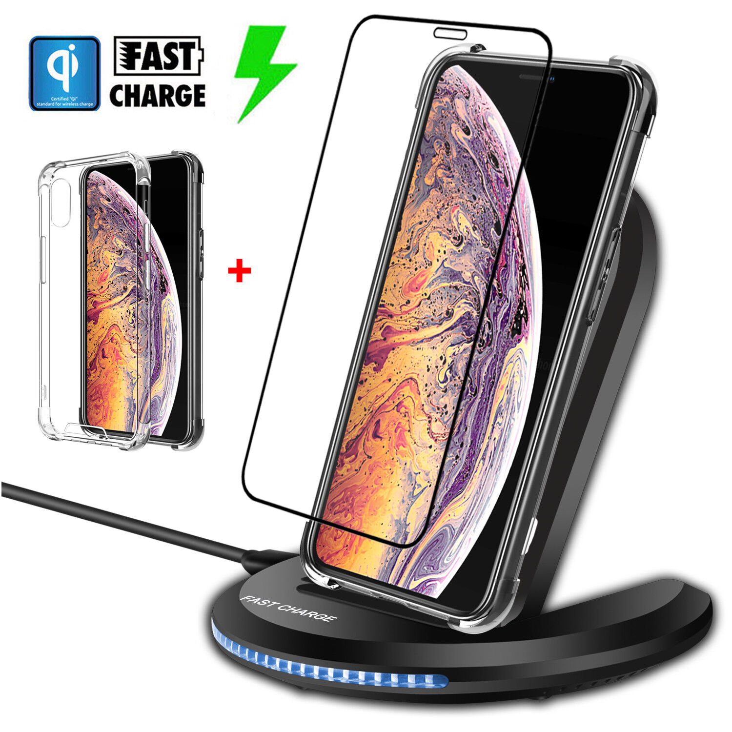 For iPhone XR/ XS Max Wireless Qi Fast Charger Charging Pad