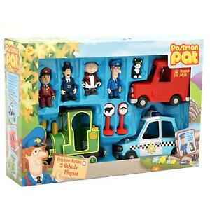 Postman Pat Friction Van, PC Selby's Police Car,Greendale Rocket & Figures Set