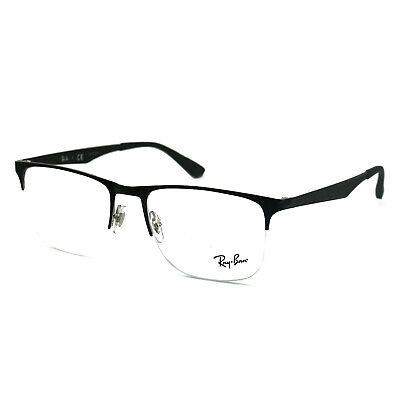 Ray-Ban Men's Eyeglasses RX6362 2861 Silver/Shiny Black 55 19 145 Semi (Semi Rimless)