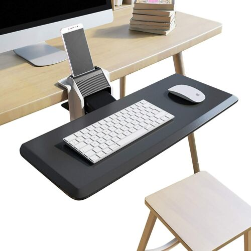 Clamp On Keyboard Tray Desk Adjustable Ergonomic with Cellphone Holder Stand