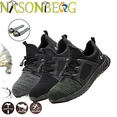 Mens Work Safety Shoes Steel Toe Ventilation Boots Indestructible Sneakers Esd