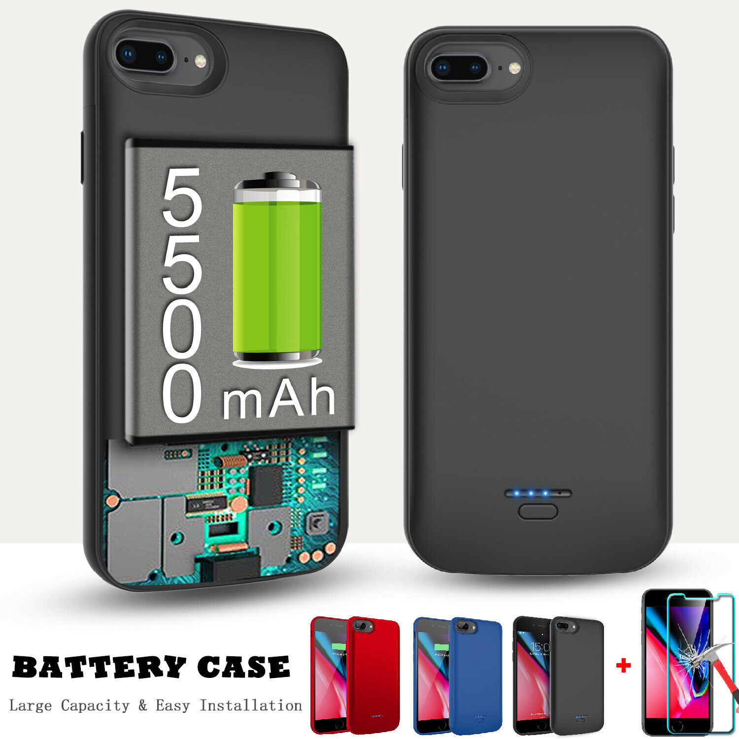 For iPhone 7 Plus 8 Plus Battery Case Slim Charger Power Ban
