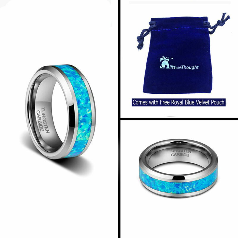 6mm Men- Ladies Tungsten Carbide With Hawaiian Opal Blue Inlay Wedding Band Ring