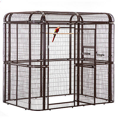 Walk in Iron Aviary Large Bird Cage Heavy Duty Pet Parrots Poultry House Brown