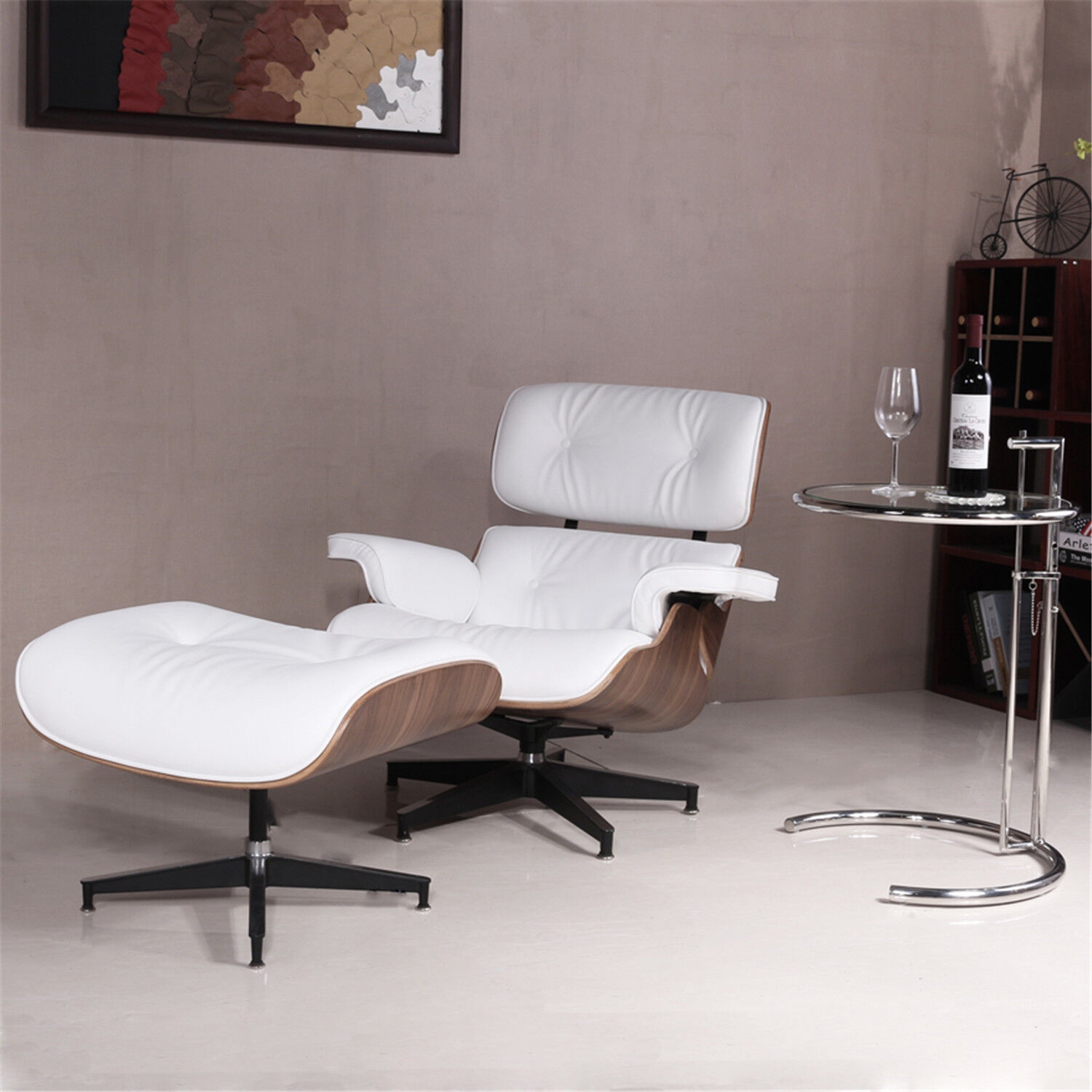 Miraculous Details About Mid Century 100 Grain Italian Leather Recliner Lounge Chair Ottoman White Us Evergreenethics Interior Chair Design Evergreenethicsorg
