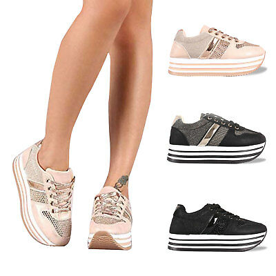 Women's Breathable Mesh Flat Walking Shoes Thick-Soled Platform Fashion - Flat Sole Sneakers